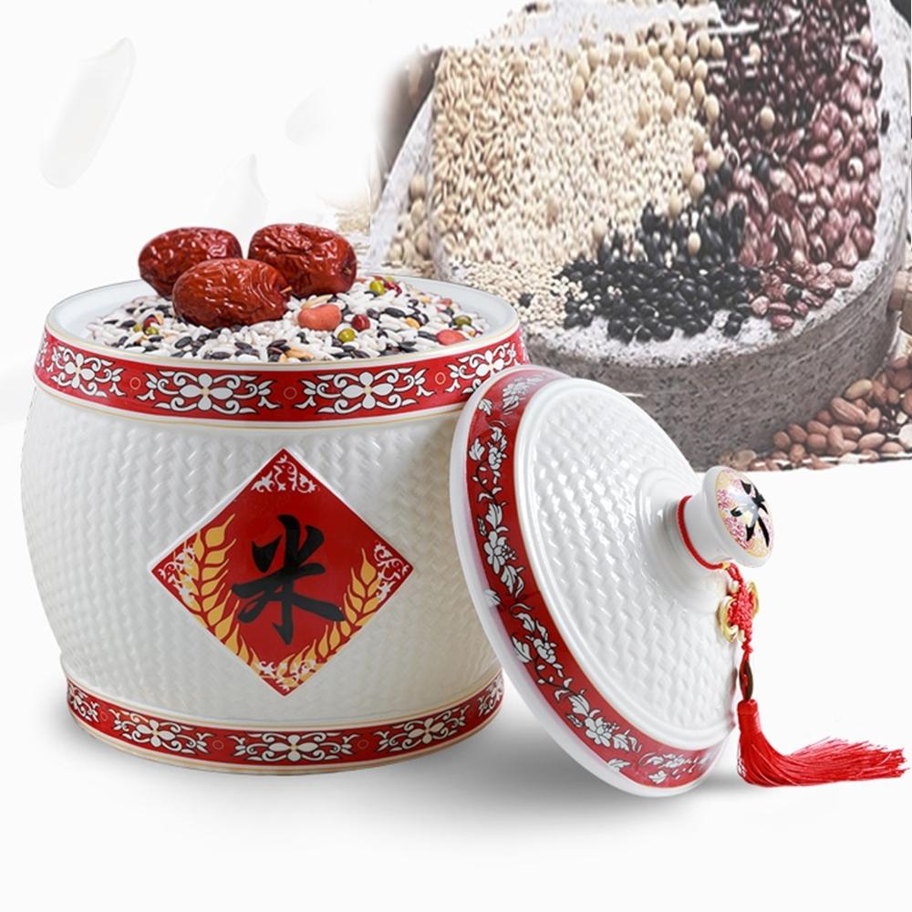 閱翰坊 開運陶瓷米缸-糧財聚寶盆贈五帝錢(年年豐收)