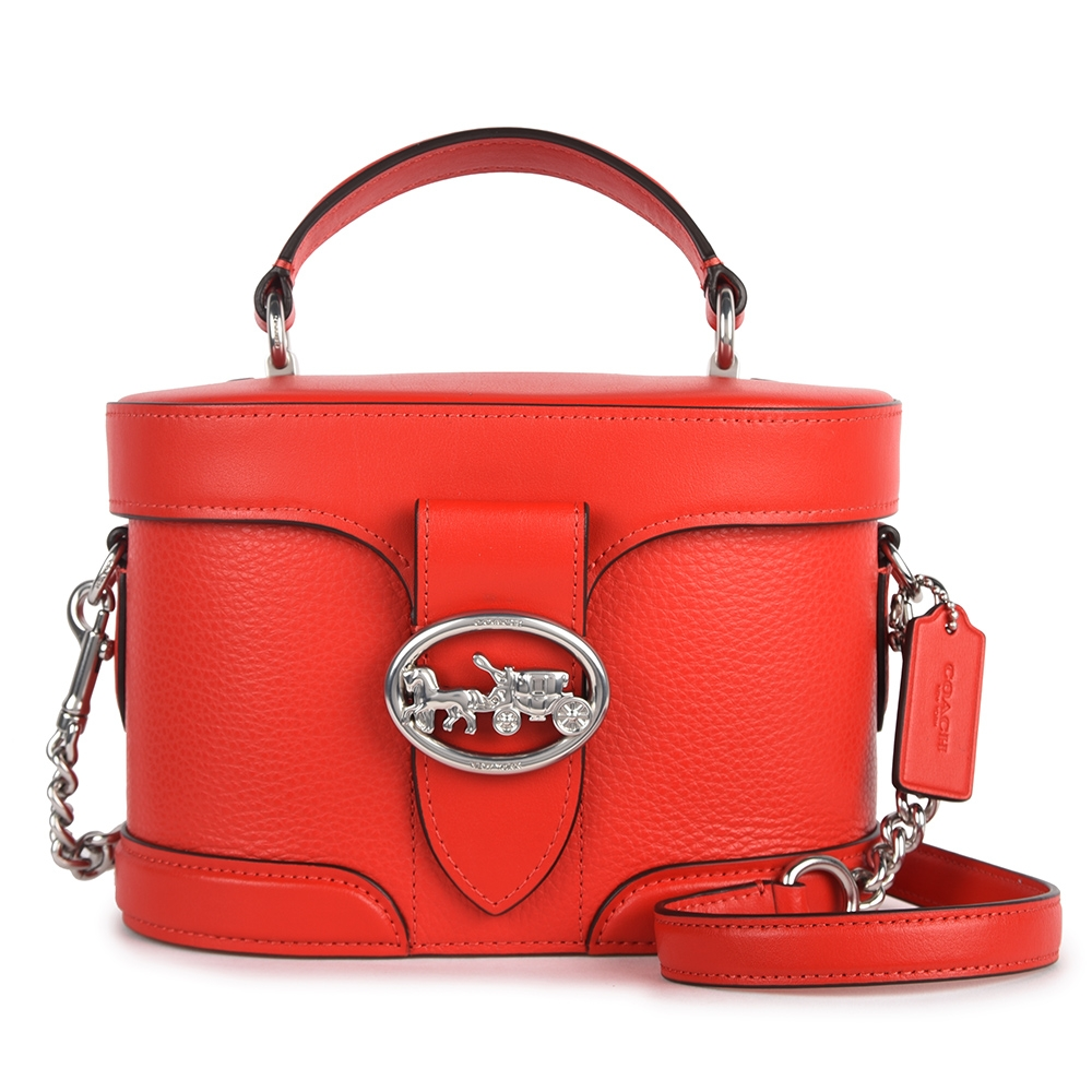 COACH  GEORGIE 金屬馬車鏤空LOGO素面拼接皮革小香風手提斜背兩用復古化妝盒包-紅色