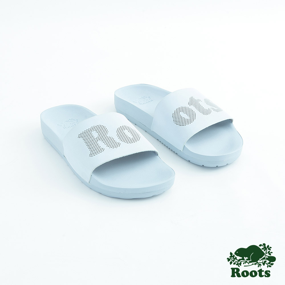Roots女鞋- 經典皮革輕便鞋-藍