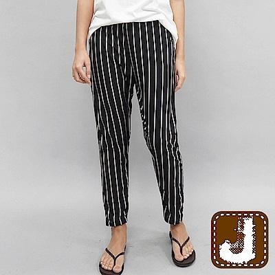 正韓 都會條紋時尚哈倫涼褲-(條紋黑)100%Korea Jeans
