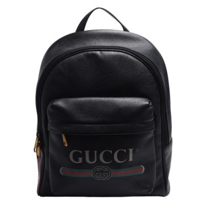 GUCCI 經典品牌LOGO綠紅綠標誌印花牛皮後背包(黑)