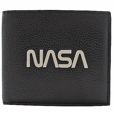 COACH NASA系列荔枝牛皮八卡短夾(黑)