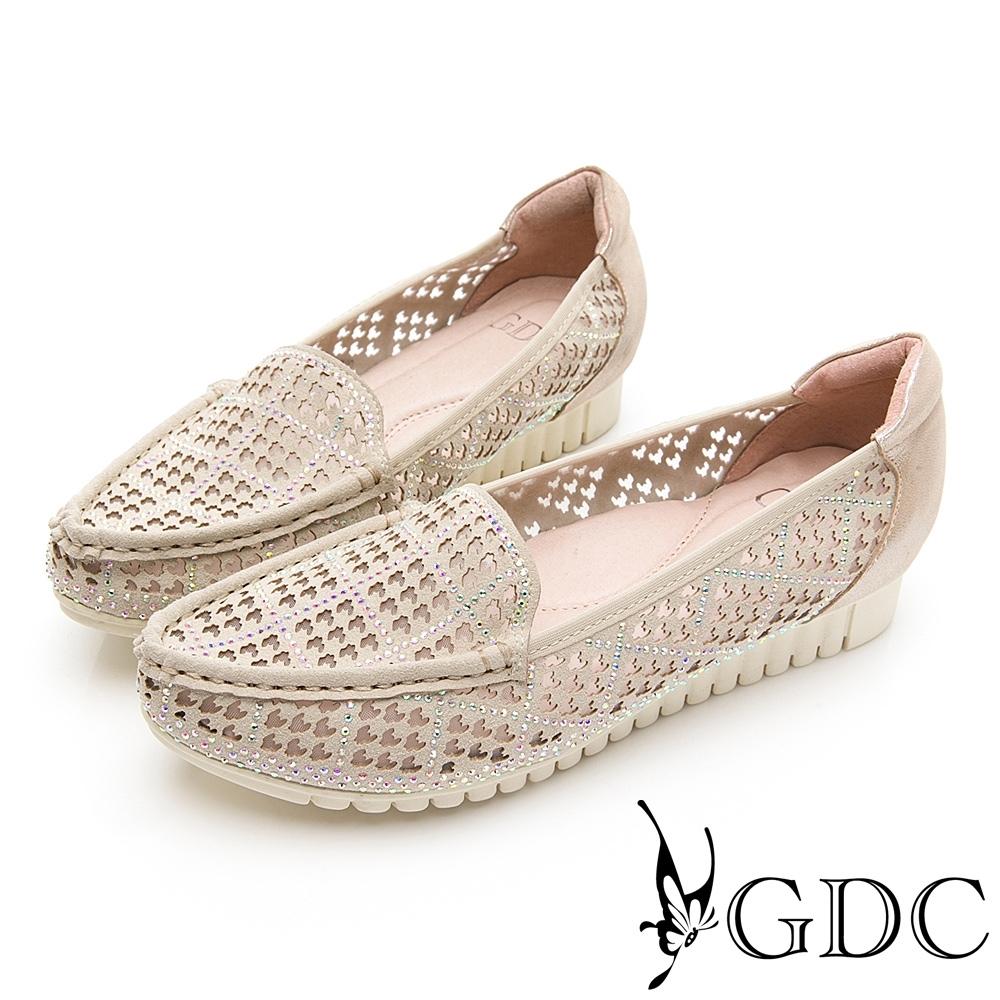 GDC-細緻優雅千鳥格紋羊皮尖頭柔軟休閒鞋-金色