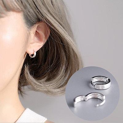 梨花HaNA 韓國S925銀中性拉絲光面圈飾耳環