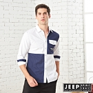 JEEP 型男撞色拼接造型長袖襯衫-白色