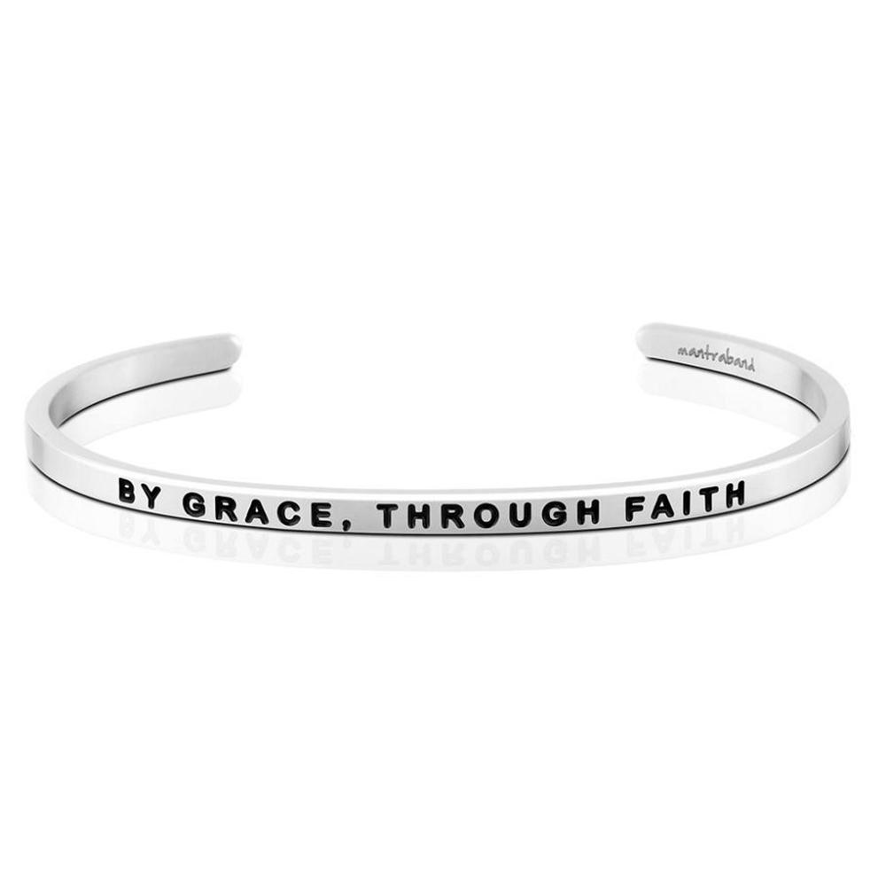MANTRABAND By Grace Through Faith 因信稱義 銀色手環