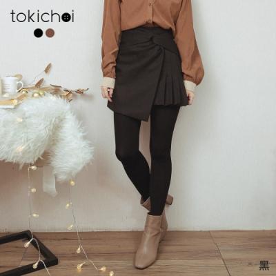 東京著衣 有個性時尚側扭結百褶短裙-S.M.L.XL(共二色)