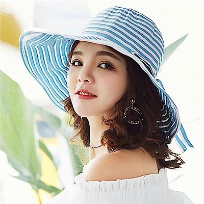 幸福揚邑 夏日浪漫條紋大帽檐抗UV防紫外線可摺疊遮陽帽-淺藍