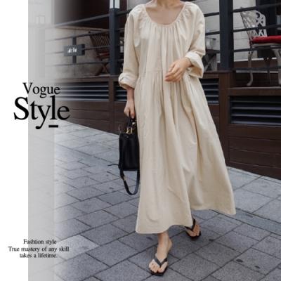 2F韓衣-簡約圓領褶皺素面洋裝-2色(M-XL)