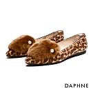 達芙妮DAPHNE 平底鞋-柔軟兔毛佐珍珠尖頭平底鞋-棕