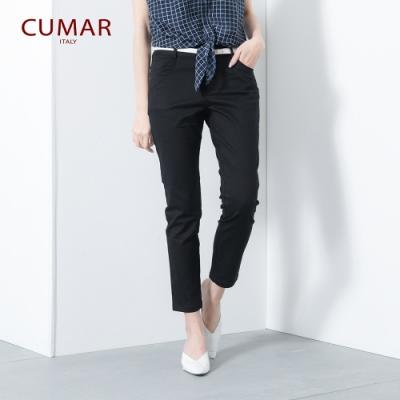 【CUMAR】簡約單色九分褲-長褲(二色/版型修身)