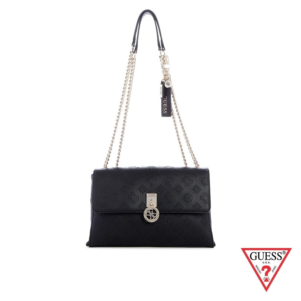 GUESS-女包-時尚LOGO壓印鍊條肩背包-黑 原價3090