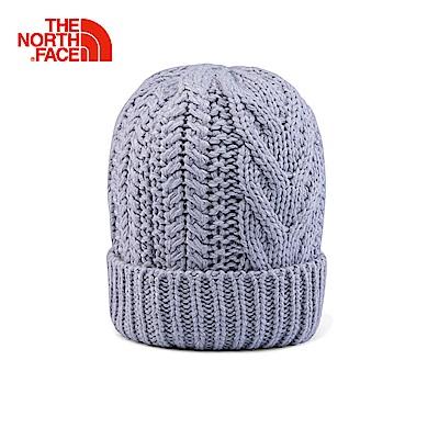 The North Face北面淺灰色保暖麻花編織針織帽 3FJGDYX
