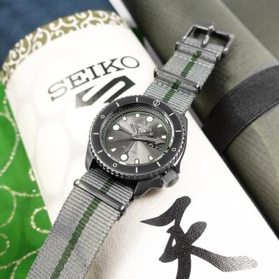 SEIKO 精工 限量款 5 Sports 機械錶 火影忍者 鹿丸 尼龍帆布手錶-灰綠色/41mm