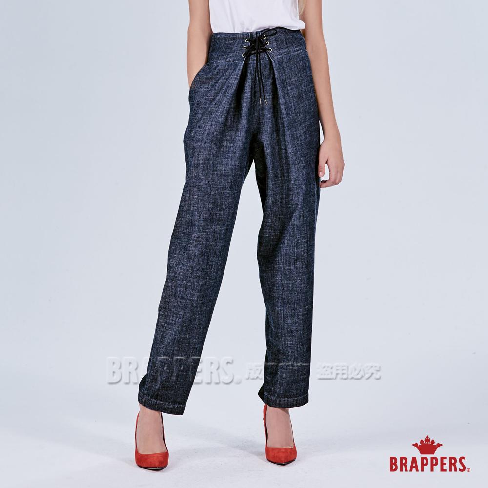 BRAPPERS 女款 Boy friend系列-高腰綁帶寬版褲-藍
