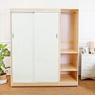 Birdie南亞塑鋼-5.8尺拉門/推門塑鋼衣櫃(白橡色+白色)-174x61x200cm