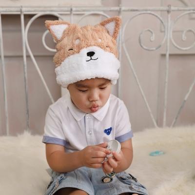 【MORINO摩力諾】超細纖維動物造型速乾兒童浴帽 毛帽(柴犬)