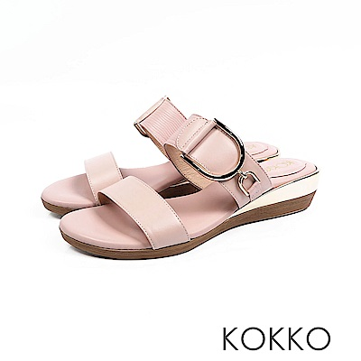 KOKKO - 極度舒適軟墊牛皮楔型涼拖鞋 - 貴妃裸