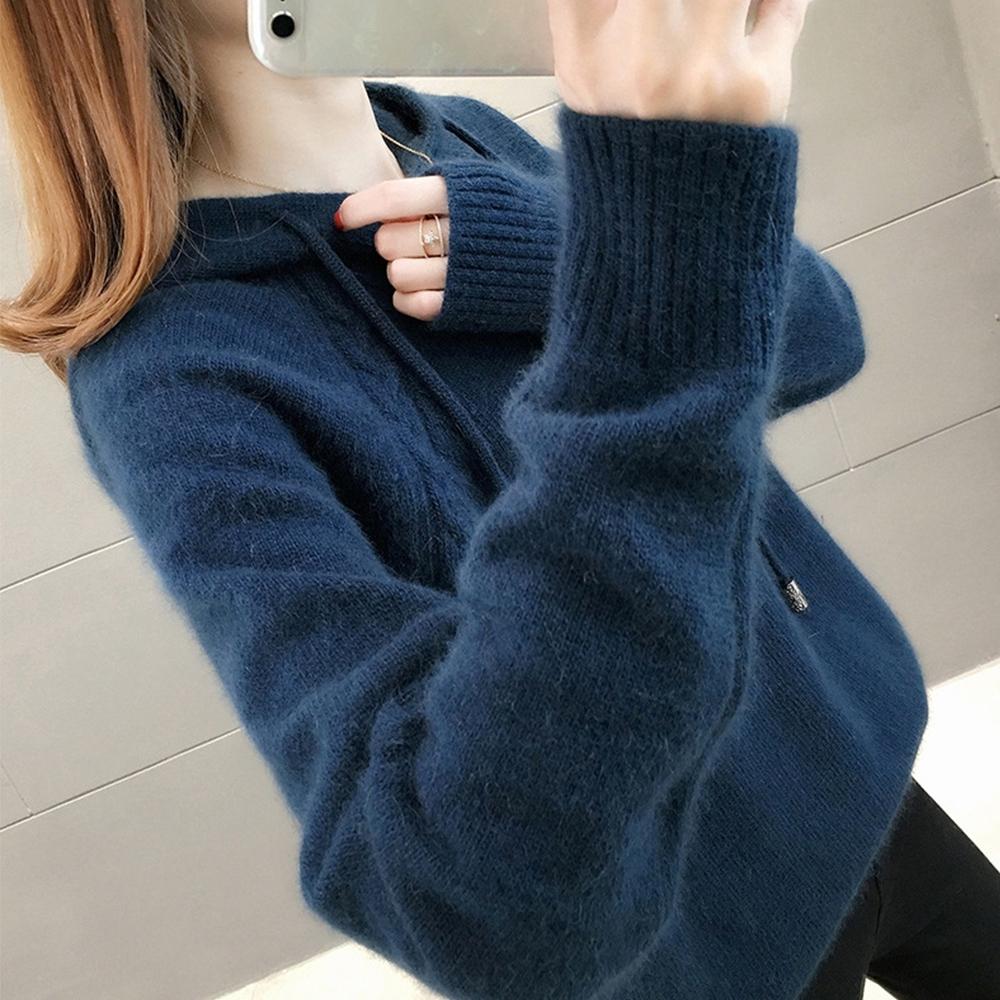 JILLI-KO 純色寬鬆針織連帽毛衣- 杏/深藍