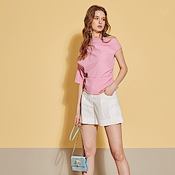 ICHE 衣哲 精緻3D刺繡打摺百搭造型短褲(三色)-時尚白