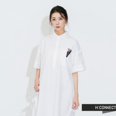 H:CONNECT 韓國品牌 女裝-質感純色襯衫洋裝-白