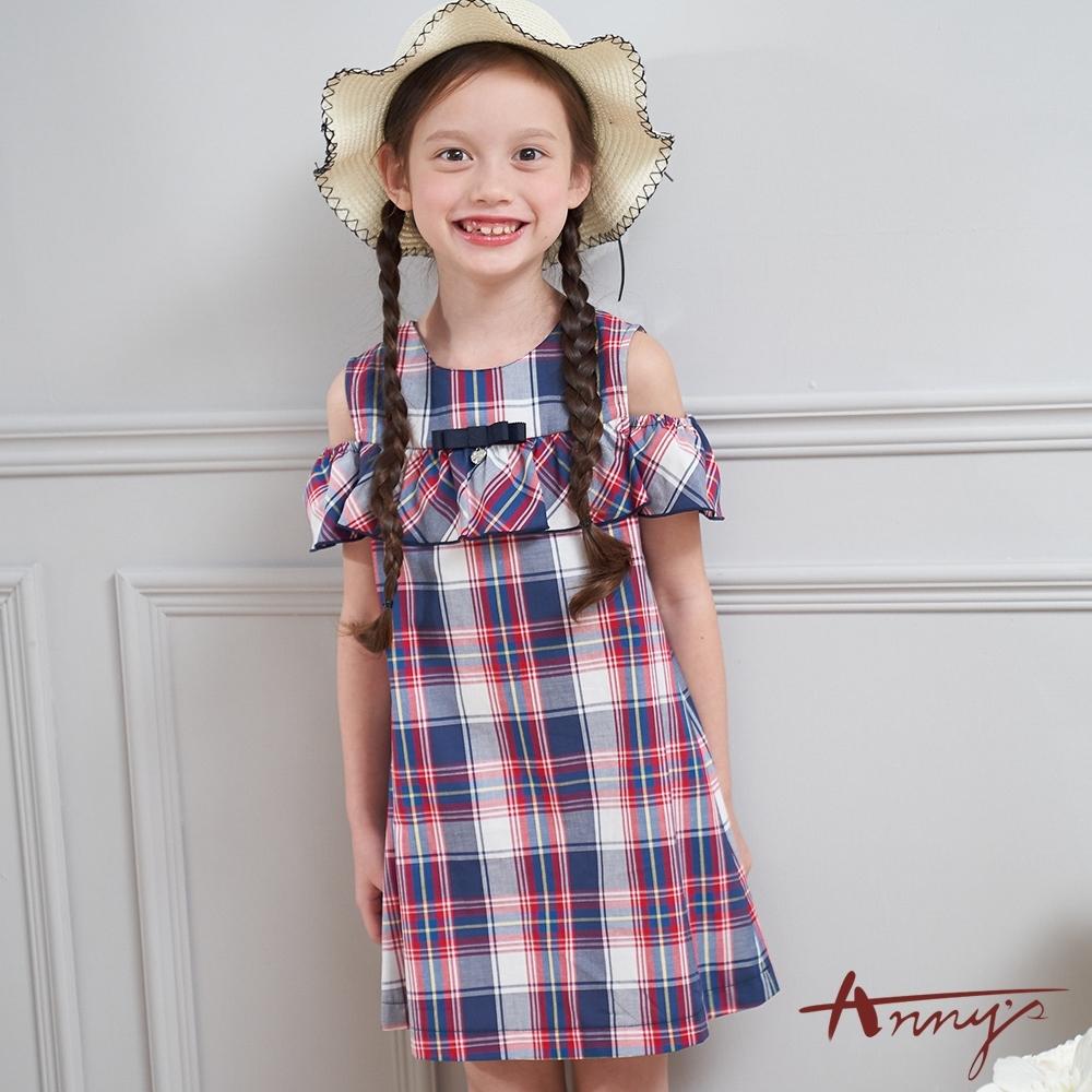 Annys安妮公主-中童甜美學院風純棉舒適荷葉挖肩無袖洋裝*0310藍