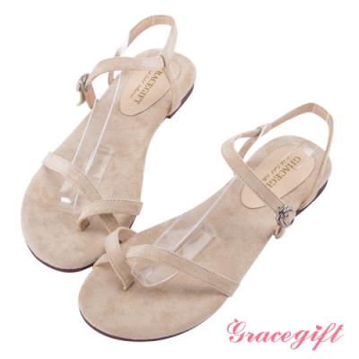 Grace gift-質感絨布細帶套趾涼鞋 杏