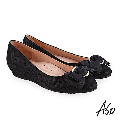 A.S.O 義式簡約 精緻蝴蝶裝飾壓紋低跟鞋 黑