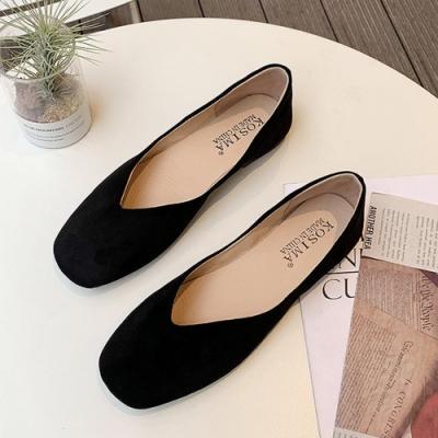 KEITH-WILL時尚鞋館 女人最大薔薇花漾素色方頭娃娃鞋-黑