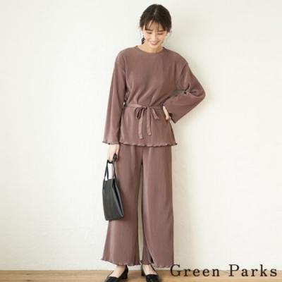 Green Parks 【SET ITEM】細緻條紋綁帶上衣+褶邊下擺寬褲