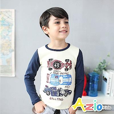 Azio Kids 上衣 塗鴉式賽車英文字母印花長袖棒球T恤(杏色)