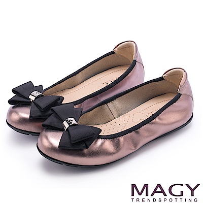 MAGY 甜美舒適 蝴蝶結鬆緊帶牛皮娃娃鞋-銅色