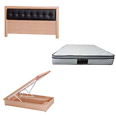 綠活居 亞多3.5尺單人床台三式組合(床頭片+後掀床底+正三線防蹣獨立筒)五色可選