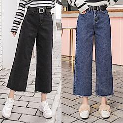 DABI 韓系高腰寬松簡約寬口牛仔單品長褲