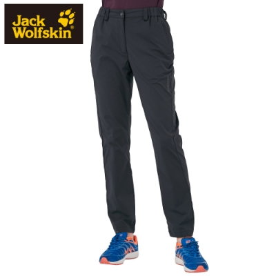 【Jack Wolfskin 飛狼】女 俐落修身內磨毛彈性休閒長褲『黑色』