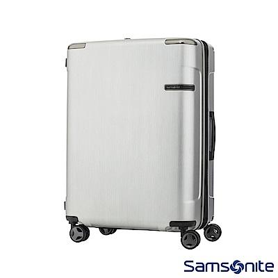 Samsonite新秀麗 28吋 Evoa 拉絲光澤防盜拉鍊抗震輪TSA硬殼行李箱(銀)