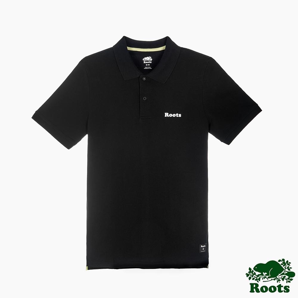 男裝Roots-炫彩霓虹系列短袖POLO衫-黑色