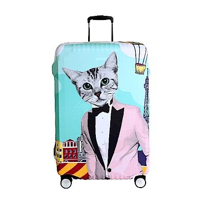 高彈性行李箱套 適用26-29吋-紳士貓咪