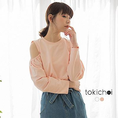 東京著衣-青春女孩鬆緊挖肩圓領長袖上衣-S.M.L(共兩色)
