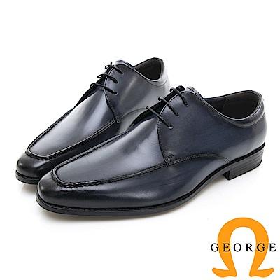 【Amber】商務時尚 圓頭立體楦頭紳士皮鞋-藍色