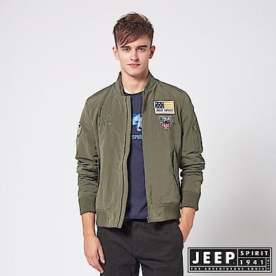 JEEP 型男立領休閒飛行外套-橄欖綠