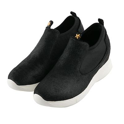 BESO 個性馬毛 街頭時髦內增高休閒鞋~黑