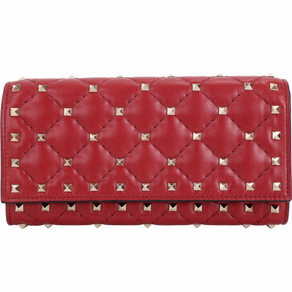 VALENTINO Rockstud Spike 紅色絎縫小羊皮菱格鉚釘釦式長夾