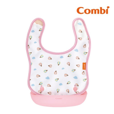 【Combi】新防污口袋圍兜-熱氣球(粉)/北極熊(藍)