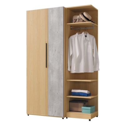 Boden-佩瑪4.1尺多功能收納衣櫃組合(雙吊+轉角衣櫃)-122x59x202cm