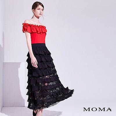 MOMA 紅黑拚色長洋裝
