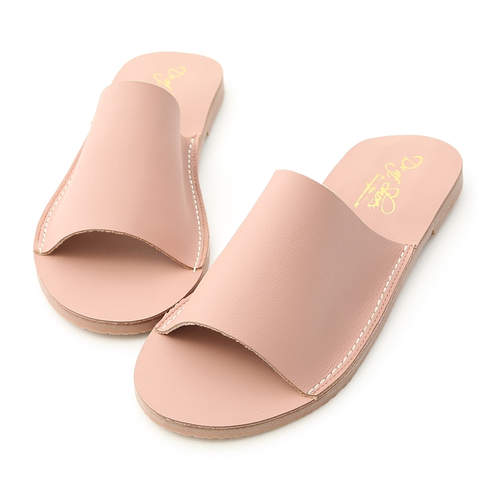 D+AF 愜意搭配.寬版一字超軟平底拖鞋*粉