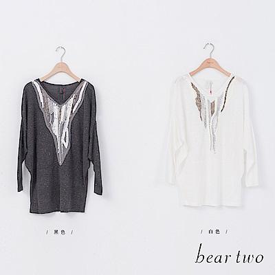 beartwo 閃閃星空珍珠亮片繡縫造型上衣(二色)