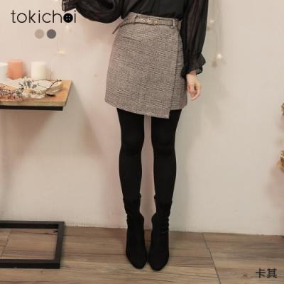東京著衣 優雅欣喜假一片式混色磨毛附腰帶A字短裙-S.M.L.XL