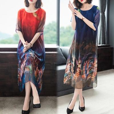 【韓國K.W.】(預購) 溫柔氣息花版桑蠶絲質感洋裝
